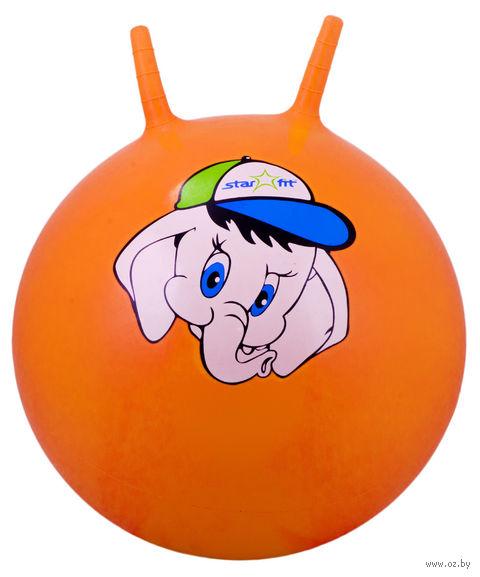 """Фитбол """"Слонёнок"""" (45 см; с рожками; оранжевый) — фото, картинка"""