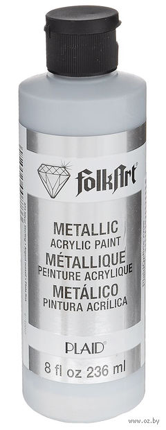 "Краска акриловая ""FolkArt. Metallic Acrylic Paint"" (серебро; 236 мл; арт. PLD-00873) — фото, картинка"