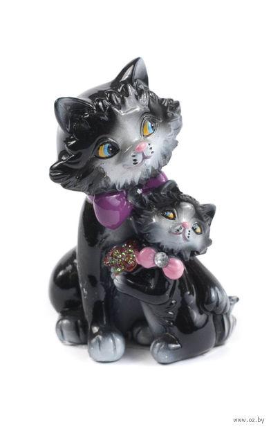 "Статуэтка пластмассовая ""Кошка с котенком"" (6,5х5,5х9,5 см; арт. QMH219172-3)"