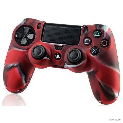 Силиконовый чехол для геймпада PS4 (камуфляж красный)
