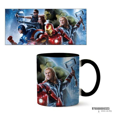 """Кружка """"Мстители из вселенной MARVEL"""" (черная; арт. 323) — фото, картинка"""