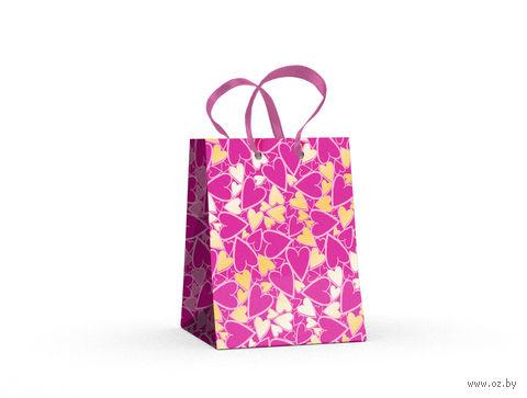 """Пакет бумажный подарочный """"Сердечки"""" (11,1х13,7х6,2 см) — фото, картинка"""