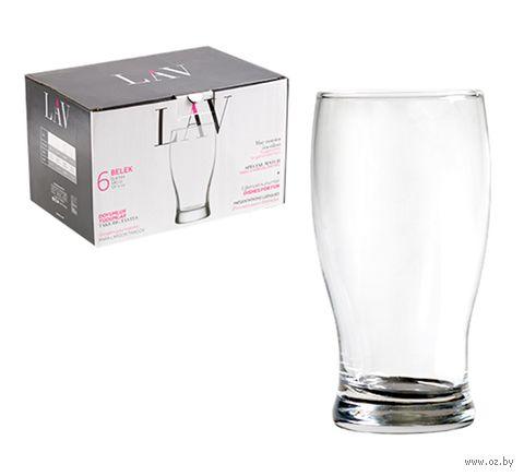 "Стакан для пива стеклянный ""Belek"" (6 шт.; 580 мл) — фото, картинка"