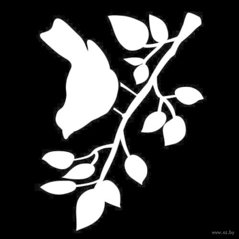 "Трафарет пластиковый ""Птичка на ветке"" (арт. PLD-30601)"