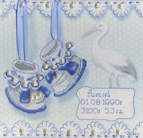"""Вышивка крестом """"Метрика пинетки"""" (200х200 мм; арт. РК-314М) — фото, картинка"""