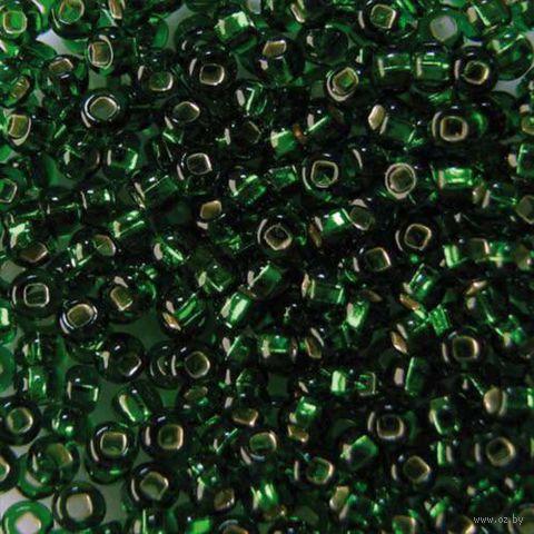 Бисер прозрачный с серебристым центром №57120 (зеленый)