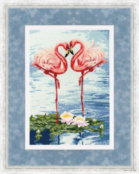 """Вышивка крестом """"Свидание фламинго"""" (310х220 мм) — фото, картинка"""