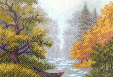 """Канва с нанесенным рисунком """"Пейзаж с лодкой"""""""