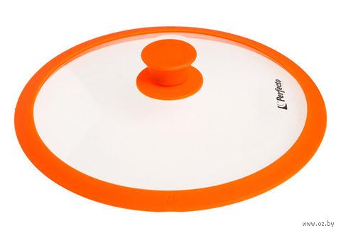 Крышка стеклянная с силиконовым ободом (28 см; оранжевая) — фото, картинка