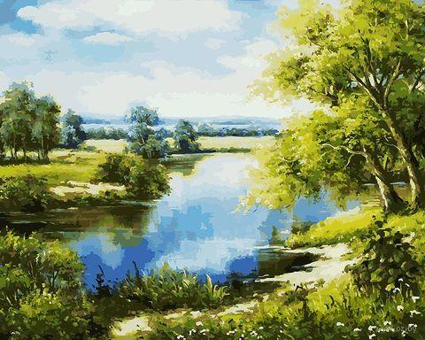 "Картина по номерам ""Лесное озеро"" (400х500 мм) — фото, картинка"