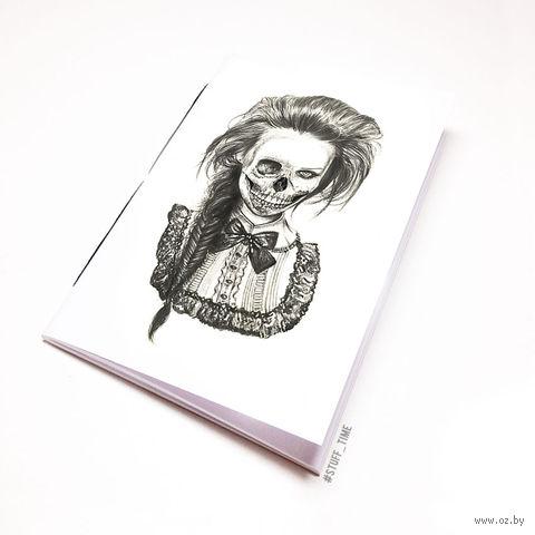 """Блокнот белый """"Девушка-скелет"""" А6 (750)"""