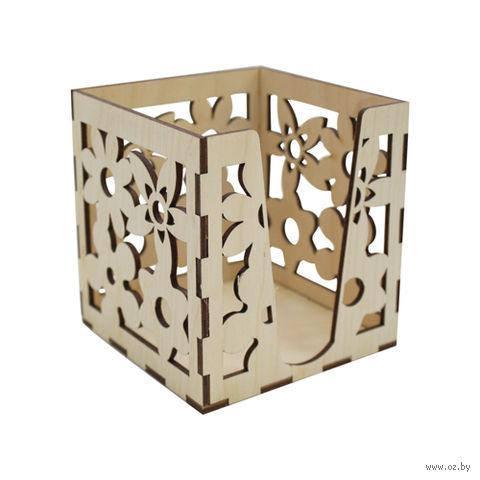 """Заготовка деревянная """"Коробочка для бумаг. Цветок"""" (100х100х100 мм)"""