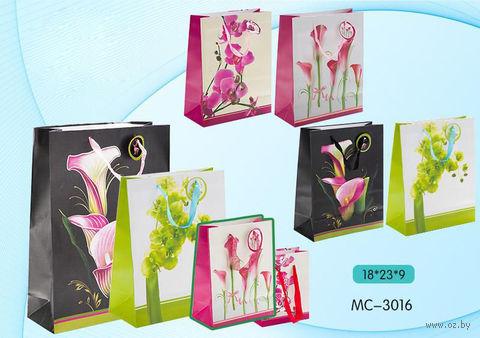"""Пакет бумажный подарочный """"Цветы"""" (в ассортименте; 18х23х9 см; арт. МС-3016)"""