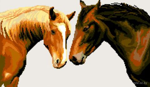 """Вышивка крестом """"Лошади"""" (420x300 мм) — фото, картинка"""