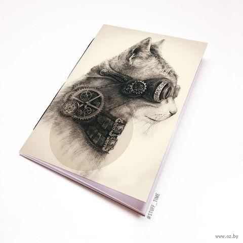 """Блокнот белый """"Стимпанк кот"""" А6 (арт. 754)"""
