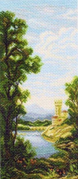 """Канва с нанесенным рисунком """"Пейзаж с замком"""""""