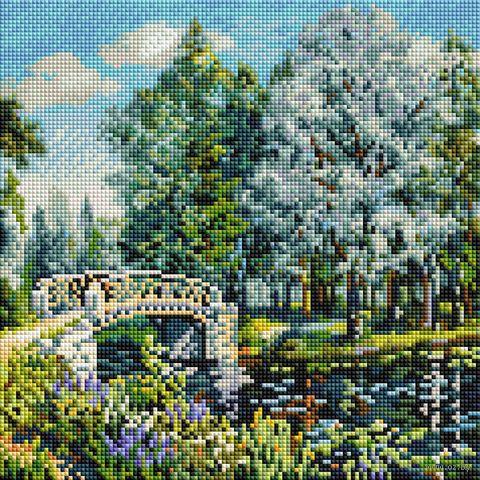 """Алмазная вышивка-мозаика """"Мостик в парке"""" (300х300 мм) — фото, картинка"""