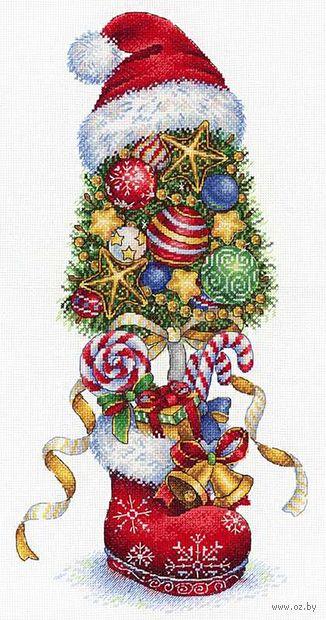 """Вышивка крестом """"Топиарий. Новогодний"""" (360x180 мм) — фото, картинка"""