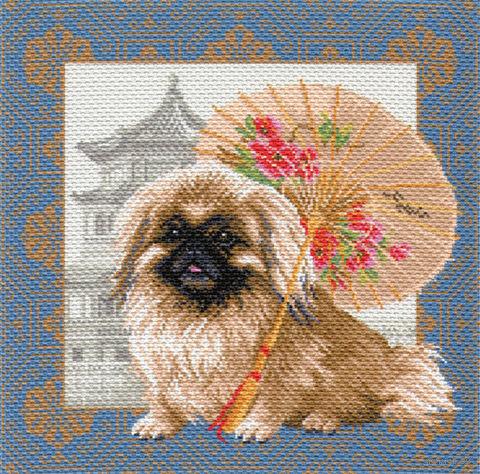 """Канва с нанесенным рисунком """"Пекинес в Пекине"""""""