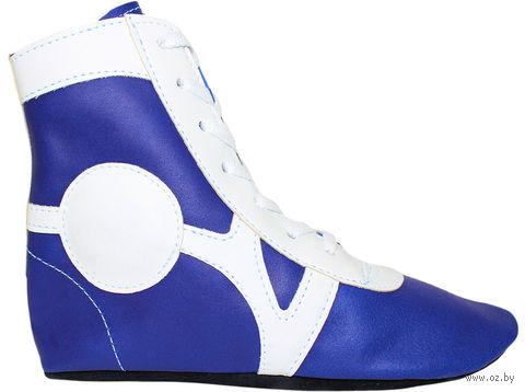 Обувь для самбо SM-0102 (р. 36; кожа; синяя) — фото, картинка