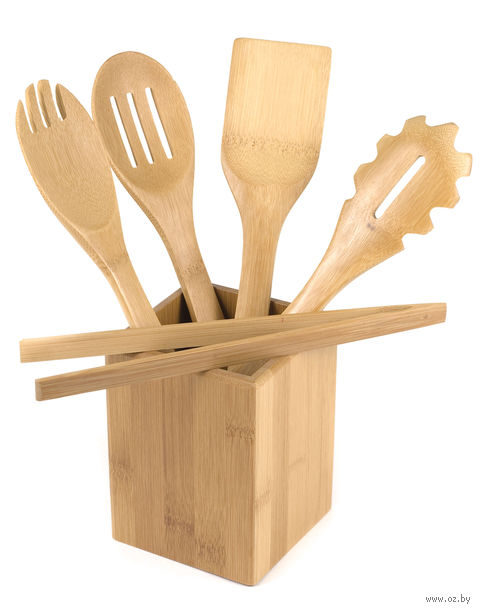 Набор кухонных инструментов бамбуковых на подставке (5 предметов; арт. BB101146) — фото, картинка