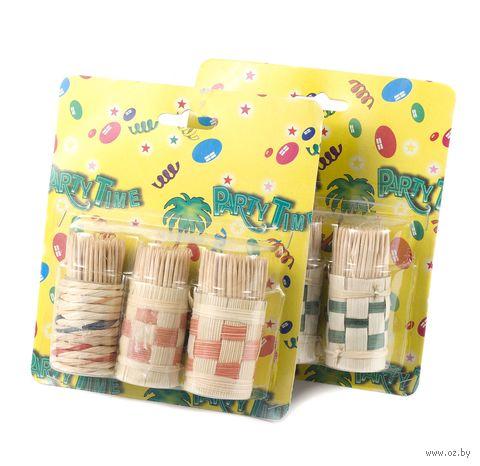 Набор зубочисток деревянных (150 шт) в плетеных подставках (3 шт, арт. GL079)