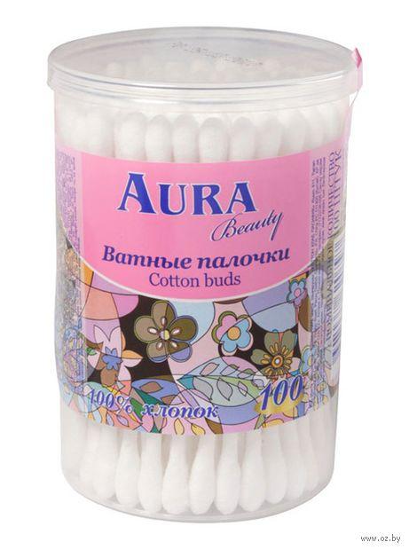 """Ватные палочки """"Aura"""" (банка; 100 шт.) — фото, картинка"""