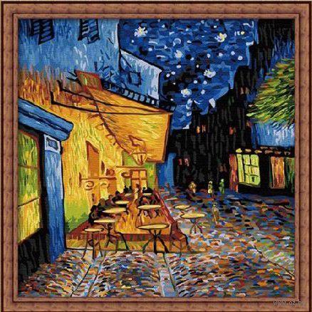 "Картина по номерам ""Ночная терасса кафе"" (400х400 мм) — фото, картинка"