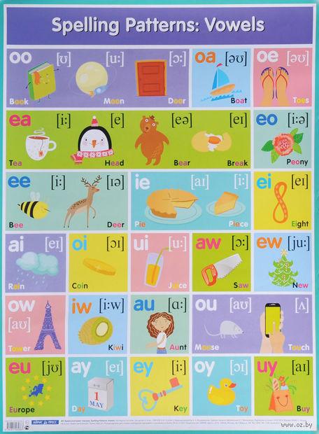 Английские буквосочетания. Гласные. Плакат — фото, картинка