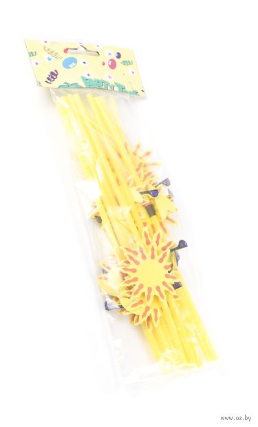 Набор соломок для питья пластмассовых с украшениями (12 шт, 24 см; арт. GL299B)