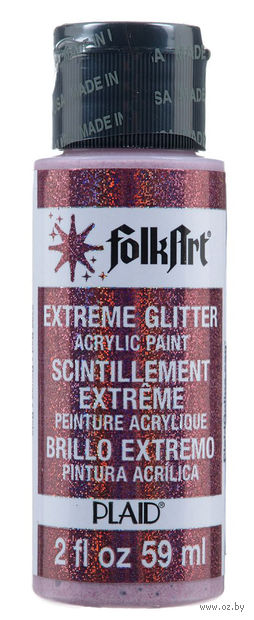 "Краска акриловая ""FolkArt. Extreme Glitter"" (красная; 59 мл; арт. PLD-02792) — фото, картинка"