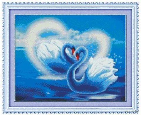 """Алмазная вышивка-мозаика """"Влюблённые лебеди"""" (450х360 мм) — фото, картинка"""