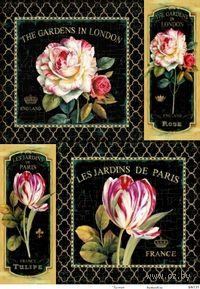 """Бумага для декупажа рисовая """"Розы и тюльпаны на черном фоне"""" (290х210 мм)"""