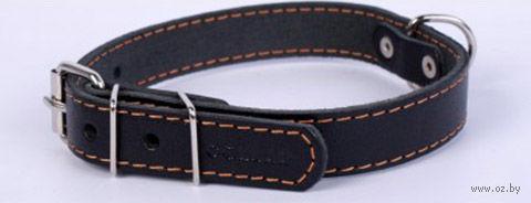 Ошейник одинарный из натуральной кожи (32-40 см; черный) — фото, картинка