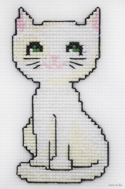 "Вышивка крестом ""Белый кот"" (65х135 мм) — фото, картинка"