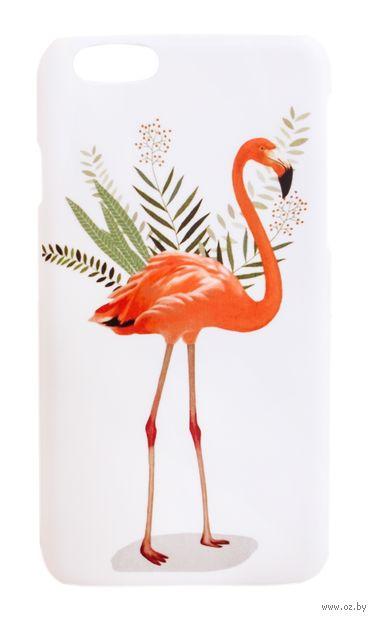 """Чехол для iPhone 6 """"Фламинго в листьях"""" (белый) — фото, картинка"""