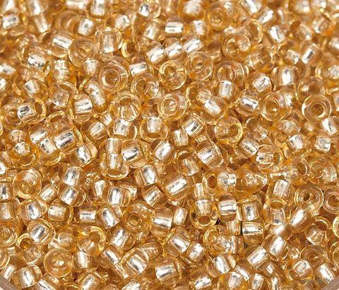 Бисер прозрачный с серебристым центром №78182 (золотой; 10/0) — фото, картинка