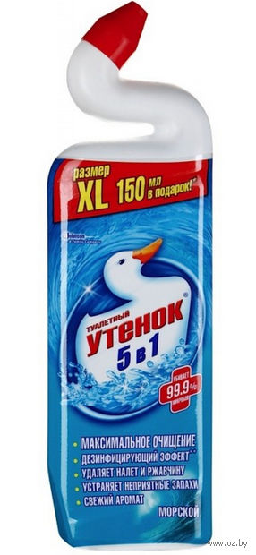 """Средство чистящее для туалета """"Туалетный Утенок. 5 в 1. Морской"""" (900 мл)"""