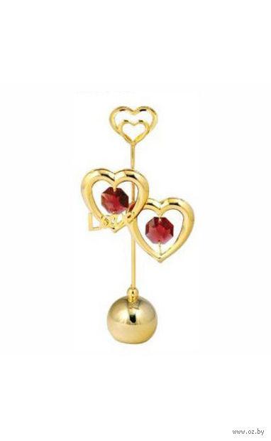 """Держатель для визиток металлический """"Два Сердца"""" (золотистый с кристаллами Swarovski, 6*12,5 см, арт. U0040-057-Gre)"""