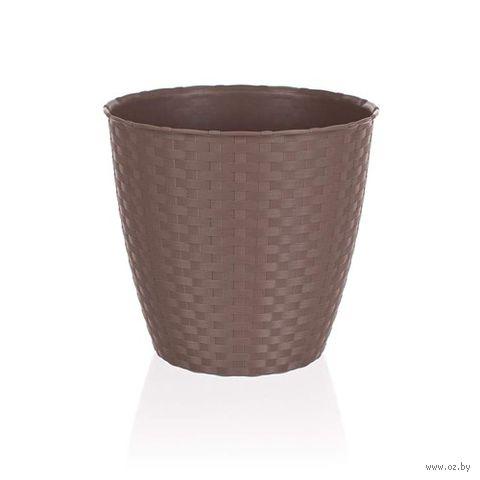 Кашпо для цветов пластмассовое (29х26,5 см; светло-коричневое)