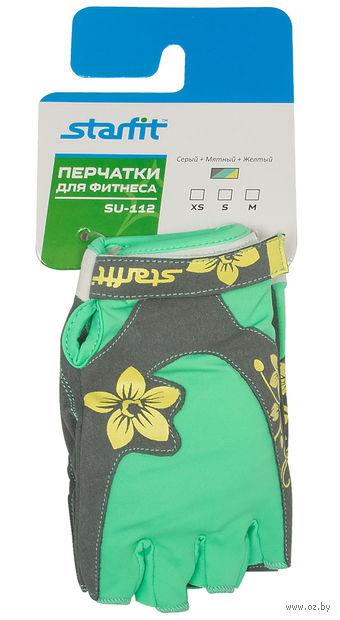 Перчатки для фитнеса SU-112 (XS; серые/мятные/жёлтые) — фото, картинка