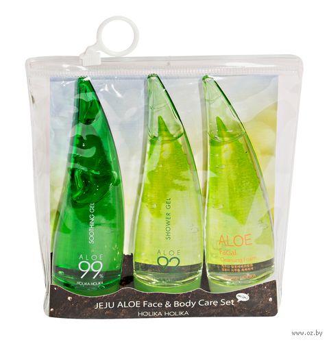 """Подарочный набор """"Jeju Aloe Face and Body Care Set"""" (гель для душа, гель для лица и тела, пенка для лица) — фото, картинка"""
