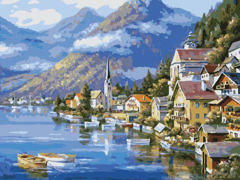 "Картина по номерам ""Пейзаж у альпийского озера"" (400х500 мм) — фото, картинка"