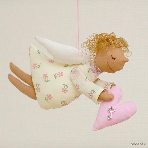 """Кукла ручной работы """"Ангел"""" (желтый в розовый цветочек)"""