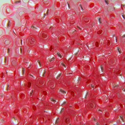 Бисер прозрачный с серебристым центром №08275 (розовый; 10/0)