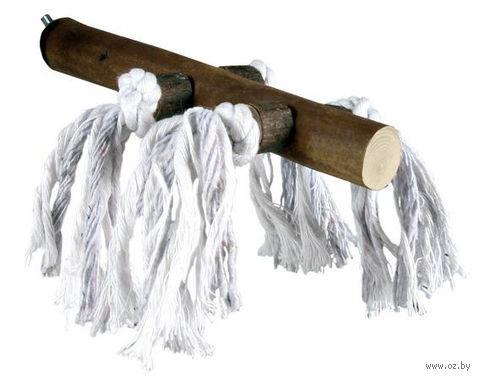 Жердочка для птиц с хлопковыми верёвками (25 см)