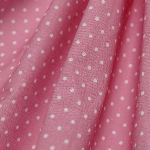 """Ткань """"Горошек"""" (темно-розовая) — фото, картинка"""
