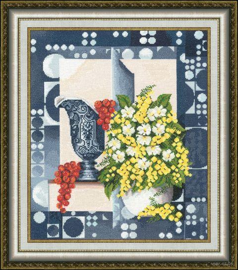 "Вышивка крестом ""Натюрморт с мимозой"" (377х318 мм) — фото, картинка"