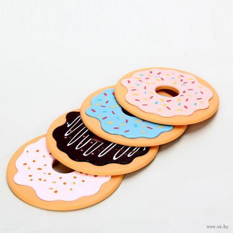 """Набор подставок под кружку """"Пончики"""" (4 шт.) — фото, картинка"""