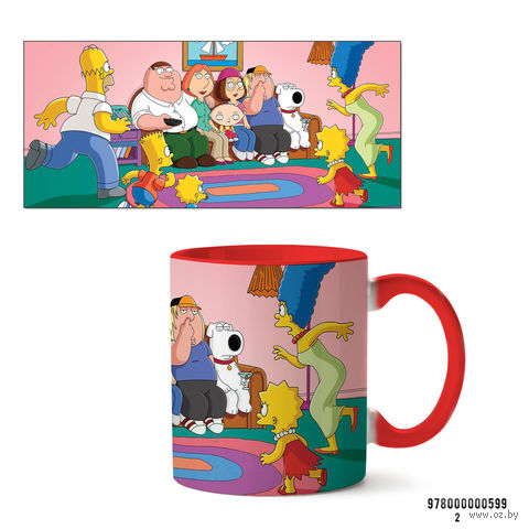 """Кружка """"Симпсоны и Гриффины"""" (арт. 599, красная)"""